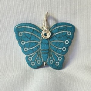 Carved Butterfly Pendant - Teal