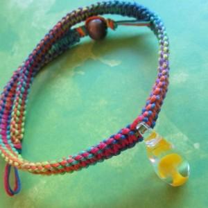 Handmade Rainbow Hemp Choker Style Necklace with Awesome Hand Blown Glass Yellow Mushroom Pendant- Trippy Hemp Necklace