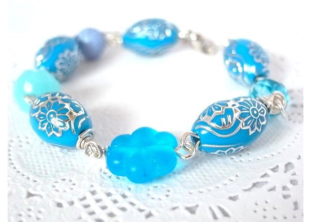 Bracelet Blue Color Flower Beads Handmade Aqua Silver Color Metal Glass Plastic Botanical Plant Summer Beaded
