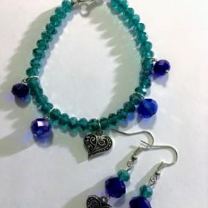 Heart Bracelet and Earring Set