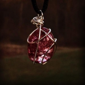 Silver Wire Wrapped Red Gemstone Pendant