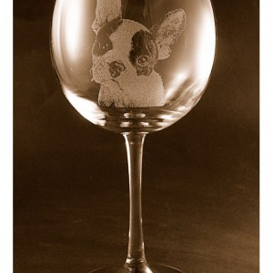 Etched French Bulldog on Elegant Wine Glass (set of 2)