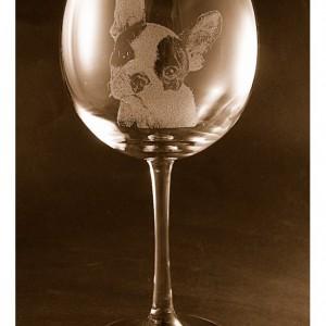 Etched French Bulldog on Elegant Wine Glass (set of 2)