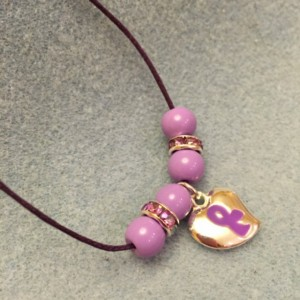 Purple Ribbon Charm Necklace