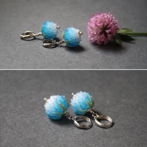 Glass Blue Clover Earrings - Turqouise Flower