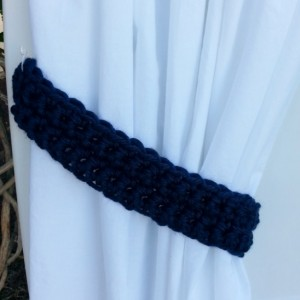 Curtain Tiebacks Set, Curtain Tie Backs, One Pair Solid Dark Navy Blue, Basic Drapery Drapes Holders, Crochet Knit, Ships in 3 Business Days