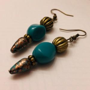 Bronze and Turquoise Beaded Earrings