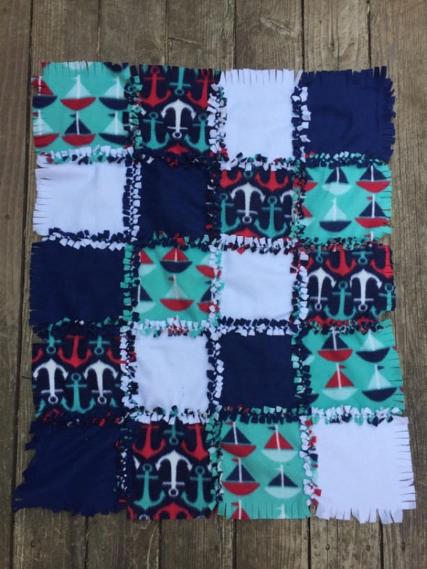 Knotted Receiving Baby Blanket Anchors and Sailboats