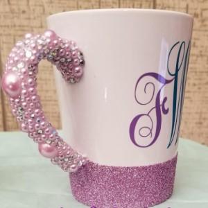 Custom Diamond and Pearls Handle Coffe Mug with Monogram Initals