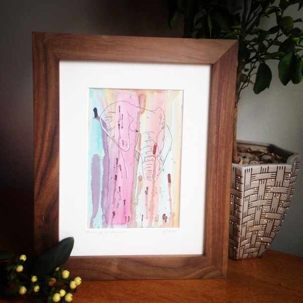 Original Abstract watercolor painting with line drawing of Elephant in handmade solid wood black walnut frame