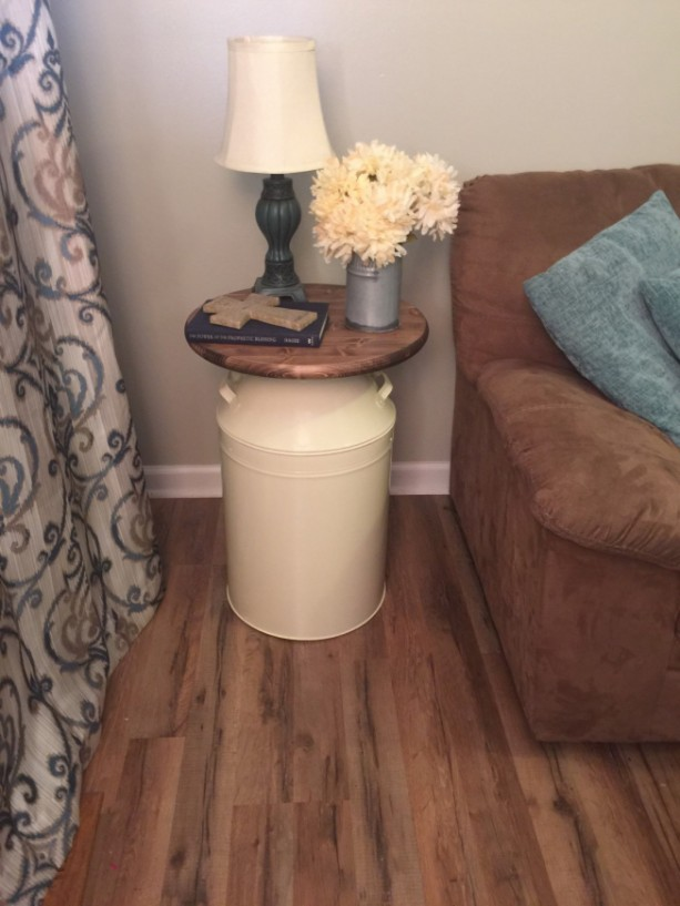 Milk Can End Table Wood End Table Cream Milk Can End