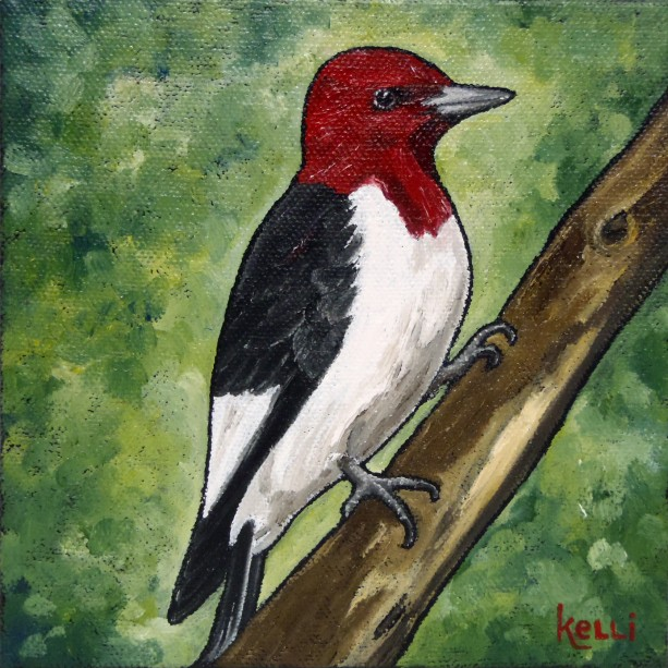 """Red-headed Woodpecker"" original painting"