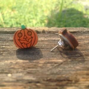 Wooden Hand Painted Halloween Jack O' Lantern Pumpkin Stud Earrings - FREE US SHIPPING
