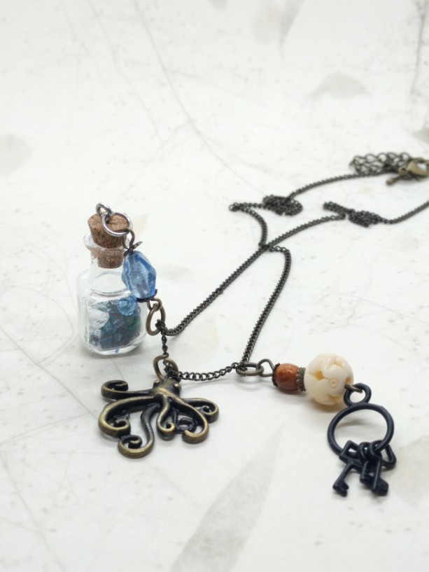 Ocean Theme Necklace, Octopus Glass Bottle and Key Charm Necklace, Nautical Sea Charm, Ocean in a bottle, Skeleton key Charm by Cumulus Luci