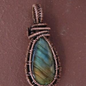 Colorful Labradorite Pendant - Wire Weave Necklace - Original Designs Make Unique Gifts