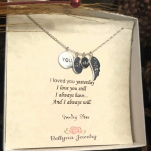 Womans Sterling Silver Rhodium Plated You Are My Angel Wing Pendant Necklace,Gift,Angel Jewelry,Love Jewelry,Jewelry Quotes,Trendy Jewelry