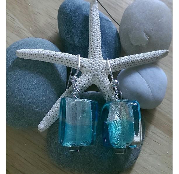 Square Blue Lampwork Earrings