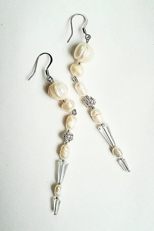 Pearl Deco - Beaded Shoulder Duster Earrings ~ Art Deco Style ~ Dramatic Earrings ~ Gift for Her ~ Bridal Pearl Earrings ~ Shoulderduster