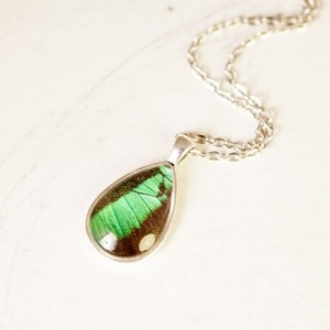 Real Butterfly Wing Necklace - Emerald Pendant - May Birthstone - Tear Drop Pendant