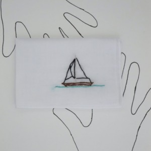 Embroidered Sailboat Keepsake Hankie Hand Stitched Boat Handkerchief by wrenbirdarts on Etsy