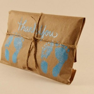 10 Twin Shower Favors. Blue and Kraft Paper Favors. Fresh Roasted Coffee Favors. Embossed Favors. Handmade. Thank You
