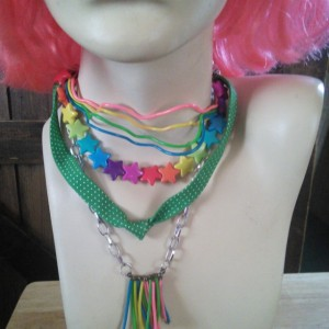 Upcycled Mixed Media Neon Rainbow Layered Choker