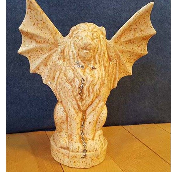 Mythical Griffin, Chimera, Gargoyle Statue with 22kt White Gold Chain