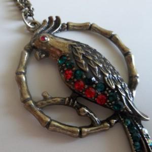 multicolored rhinestone pendant with chain