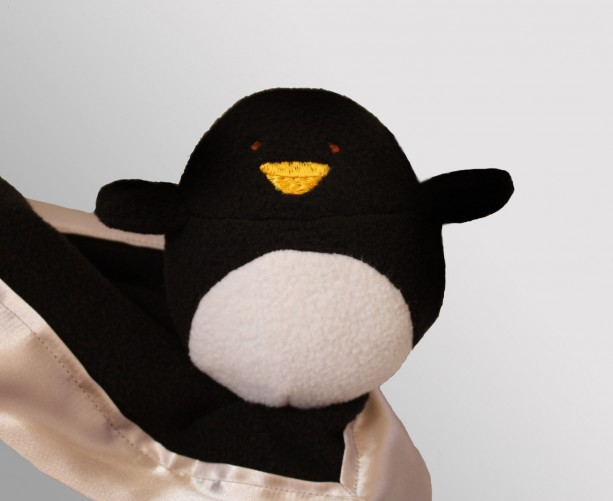Penguin Security Blanket Baby Blanket Lovey Blanket Satin Baby Blanket Stuffed Animal Baby Toy Customize Color Monogramming Available