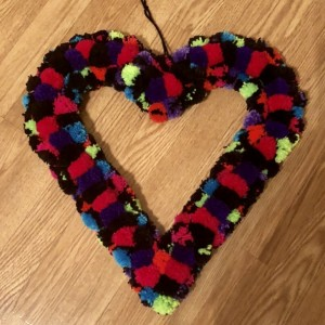 Black and Neon Glitter Heart Yarn Pom Pom Valentine Romance Wreath