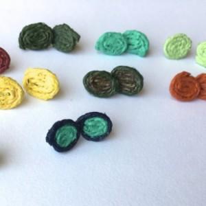Colorful Rustic Earrings (Painted Twine, Handmade earrings, Twine Earrings, Stud Earrings, Turquoise, Unique Earrings)