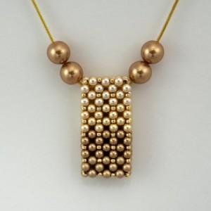 Gold Ombre' Swarovski Pearl Vertical Slide Bar Pendant necklace