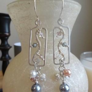 Tri-tone Rectangular Cluster Earrings