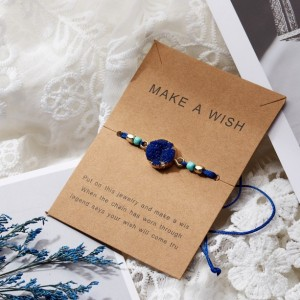Make a Wish, Wish Bracelet, Blue Charm Bracelet, Lucky Blue String Bracelet ,Stocking Stuffer for Friends