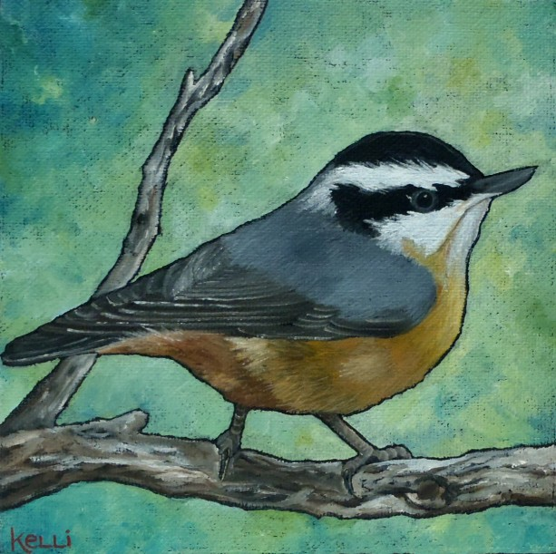 """Red-breasted Nuthatch"" original oil painting"