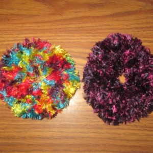 Hand Knit Scrunchies- Bright Glitter and Parrot