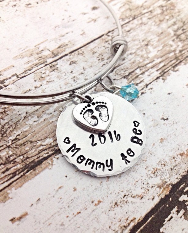 Mothers Day Gift Mommy To Be Bracelet Bangle Hand Stamped