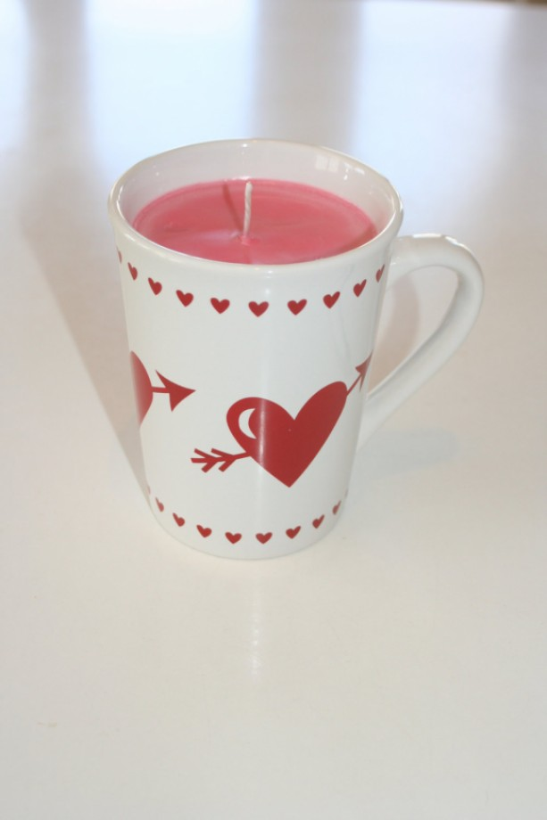 Valentine's Day Red and White Hearts and Arrow Wine and Roses Scented 15 oz Pink Soy Wax Mug Candle