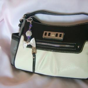 Mesh Bow with Pink Beads Handbag Charms