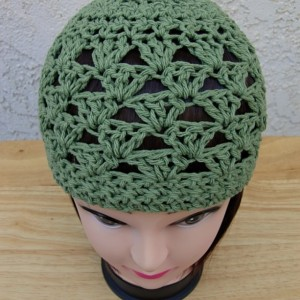 Solid Olive Green 100% Cotton Lacy Summer Beanie, Women's Men's Lightweight Hat, Chemo Cap, Crochet Knit Lace Skull Cap, Ships in 3 Biz Days