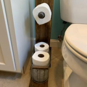 Wood toilet paper holder/storage