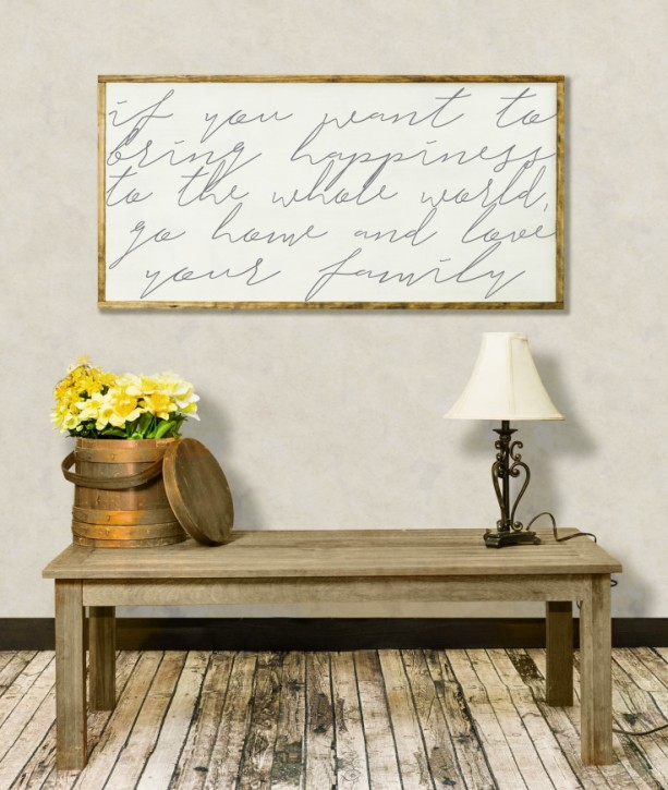If You Want To Bring Happiness To The World, Mother Teresa Distressed Wood Sign, Inspirational, Living Room Wall Art, Farmhouse Wall Decor