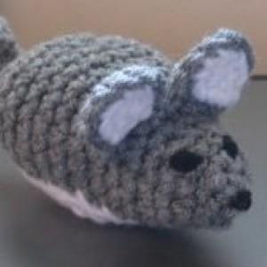 Chinchilla-Gray Mouse Amigurumi Toy