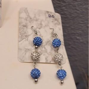 Blue and white rhinestone bead earrings