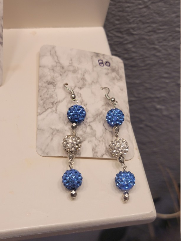 Blue and white rhinestone bead earrings