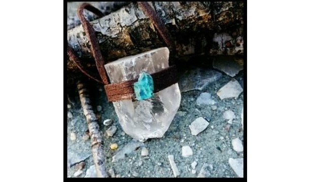 Quartz Apatite Pendant Necklace