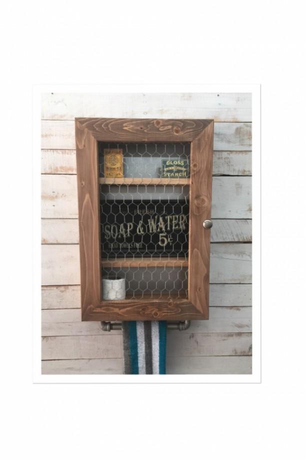 Farmhouse Cabinet, Hanging Cabinet, Chicken Wire Cabinet, Primiti ...