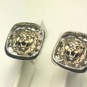 10k Gold  Diamond Lion head sterling silver cufflinks