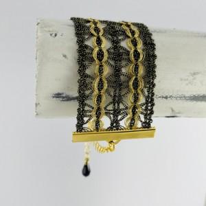 "Vintage Black & Gold  French Lace Bracelet (1.25"" width)"