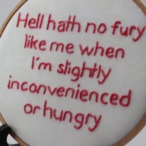 Hell Hath No Fury Quote, Hand Stiched Modern Embroidery Hoop Wall Hanging Decor. Funny and Sarcastic, Makes a great gift!